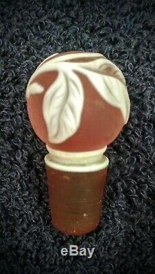 Rare Victorian Webb english cameo cranberry glass perfume bottle stopper