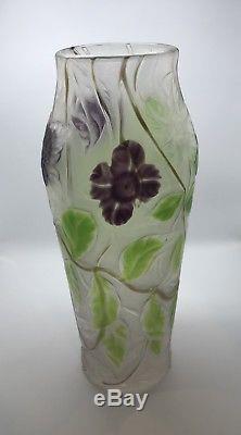Rare Vintage Signed LCT Tiffany Floral Cameo Favrile Glass Large 12 Vase (209)