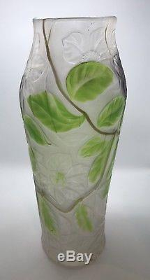 Rare Vintage Signed LCT Tiffany Floral Cameo Favrile Glass Large 12 Vase (209)