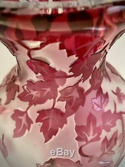Rare Vintage The Three Maidens Large Cranberry Cameo Art Glass Vase Signed
