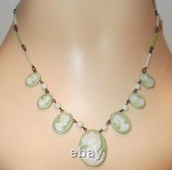 Rare Vtg Art Deco Signed Czech Green & White Molded Glass Cameo Necklace 17.25