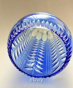 Russian Soviet Art Glass Cameo Diamond Cut Blue-to-Clear Large Crystal Vase