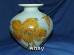 Ryszard Ramski Cameo Glass 7 Vase Hummingbirds & Irises Signed Ramski Fantastic