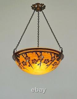 SCHNEIDER FRENCH 1920 ART DECO PENDANT Le Verre Français cameo chandelier 1925