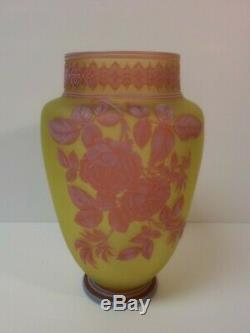 STUNNING Thomas Webb 3-Color CAMEO Art Glass 9.75 Vase, Signed, c. 1890