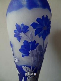 Sand Carved Cameo Vase 3 Layer Of Glass Not Signed