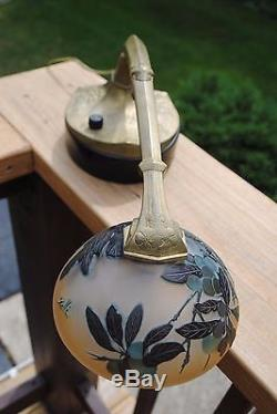 Scarce Art Nouveau, Jugendstil Emile Galle Cameo Art Glass Piano/Desk Lamp
