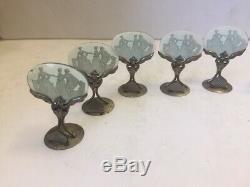 Set of 8 Antique Cameo Glass Place Card Holders, metal base Czechoslovakia
