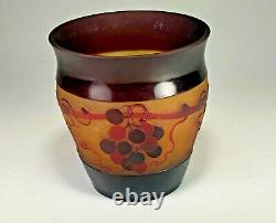 Signed D'Argental Cameo Glass Vase Grapes