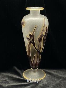 Signed Daum Cameo & Wheel Carved Vase Butterfly/Iris Motif Circa 1900