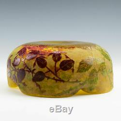 Signed Daum Nancy Cameo Glass Quatrefoil Bowl c1905