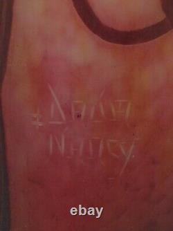 Signed Daum Nancy Cameo Glass Vase. Wheel Cut Floral. France Antique Original