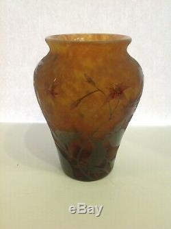 Signed Daum Nancy Enamelled French Cameo Vase. Original Antique