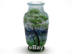 Signed Daum Nancy French Cameo Glass Vase With Landscape Design 3 3/4 Tall XLNT