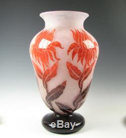 Signed Degue French Cameo Art Glass Huge size Vase