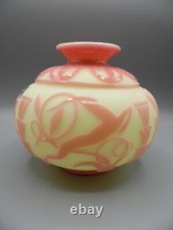 Signed Fenton Kelsey Bomkamp Deco Deer Limited Sandcarved Cameo Vase #201/325