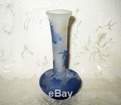 Signed Galle Cameo Art Glass Vase done in a Purple Floral Design, EXCEPTIONAL