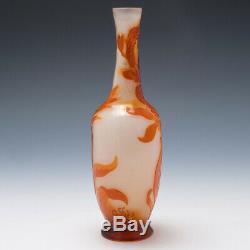 Signed Gallé Fire Polished Cameo Solifleur Vase c1900