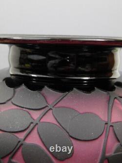Signed Kelsey Murphy Pilgrim Glass Cameo Cricket Grasshopper Monumental Vase 12