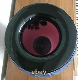 Signed Kelsey Murphy Pilgrim Sand Carved Cameo Vase Burgundy and Black