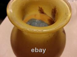 Signed Legras 11 Scenic French Cameo Glass Acid Cut Back & Enameled Vase