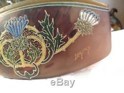 Signed Legras Cameo Enamel Painted Burgundy Bowl Vase