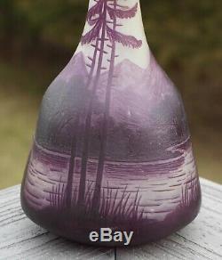 Signed Loetz Richard Cameo Art Glass 12 Vase, Woodlands/Alpine Scene