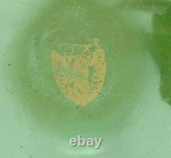 Signed Mont Joye Acid Etched Cameo Glass Vase Gilt Mum Decoration 12 Tall