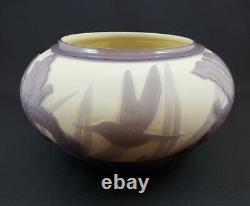 Signed & Numbered Kelsey Murphy Cameo Pilgrim Glass Iris & Hummingbird 1999