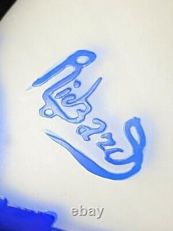 Signed Richard Loetz Blue Floral Cameo Glass Perfume Bottle