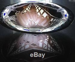 Signed Steve Tobin Manhattan Etched Cameo Art Glass Bowl / Trompe L'oeil 20x5in