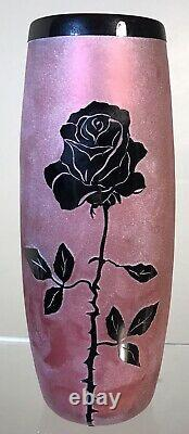 Signed Studio Art Glass Vase Cameo Black Rose Steven Correia Limited Edition