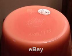 Spectacular Gem MINT Vintage Fenton Burmese Cameo Vase Signed Kelsey & Numbered