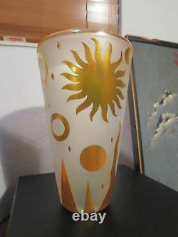 Steven Correia Modern Art Deco Cameo Glass Vase Iridescent Gold Sun
