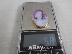 Striking 14k Gold Pendant Brooch Glass Cameo Carnelian & White Art Nouveau