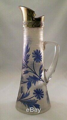 Stunning French Art Nouveau 13 Cameo Glass Pitcher Ewer Mt Joye Baccarat Era