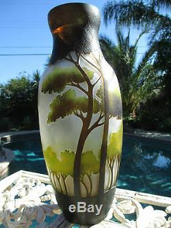 Stunning HUGE Vintage Cameo Art Glass Galle Style Vase