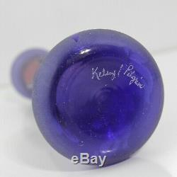Sublime Fenton Glass Kelsey Murphy Pilgrim Floral Cameo Art Glass Bud Vase 7.25