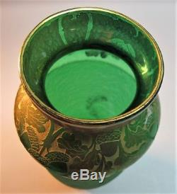 Superb 11.5 LEGRAS FRENCH Green Cameo Glass Vase in Emerald c. 1900 antique