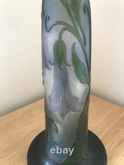 Superb Late 19th Century Emile Galle' Signed Art Nouveau Floral Cameo Glass Vase