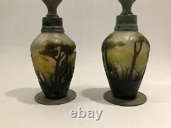 Superb Pair, Nancy Daum Cameo Landscape Bronze Mounted Art Glass Candlesticks