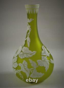 THOMAS WEBB English Cameo Art Glass Vase 9-1/2 Citron Green Convolvulus