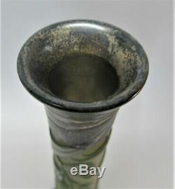 Tall 17 SIGNED GALLE Dark Green Flowering Pod Cameo Art Glass Vase c. 1904