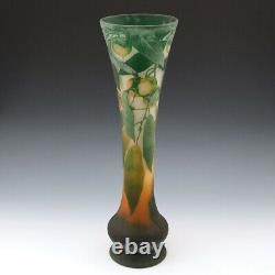 Tall Daum Quinces Cameo Vase c1910