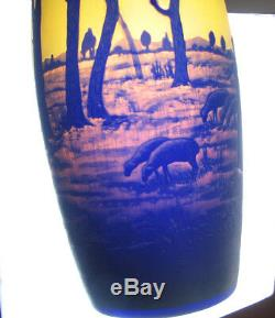 Tall French Cameo Art Glass Vase with Woman Sheep Signed Degue Vintage 12&1/4