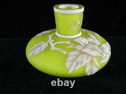 Thomas Webb & Sons Three Color Cameo Glass Miniature Vase with Butterfly Antique