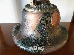 Unique Antique Daum French Art Glass Sunflower Cameo Oil Lamp