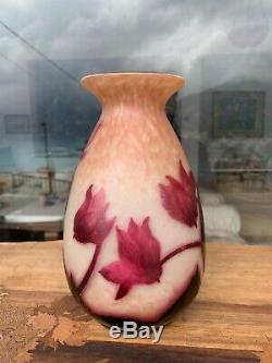 VERY RARE FRENCH CAMEO ART GLASS VASE BY A. DELATTE NANCY 1920s