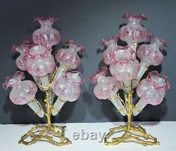 Val St Lambert Acid Etched Cut Cranberry Cameo Glass & Gilt Bronze Epergne Vases