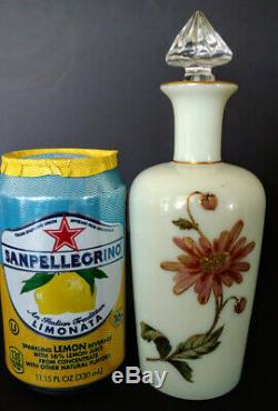 Vaseline Glass St Louis Enameled Gilded Cameo Art Nouveau Lotion Bottle 1900's